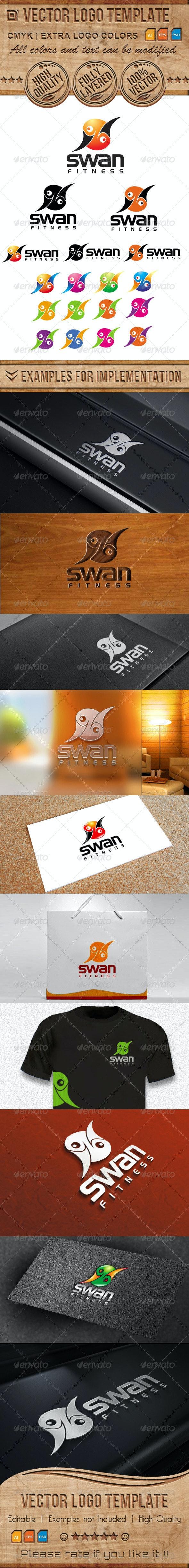 Fitness, Swan Vector Logo Template - Animals Logo Templates
