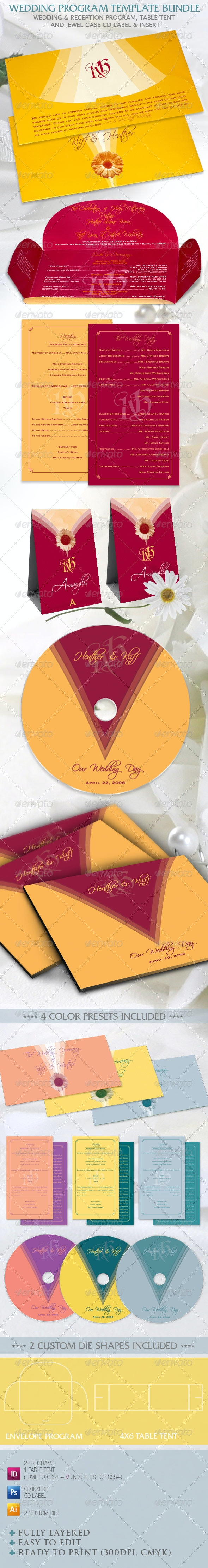 Wedding Program Template Bundle - Weddings Cards & Invites