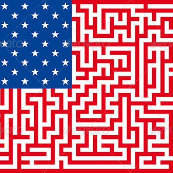 Conceptual American Flag Maze
