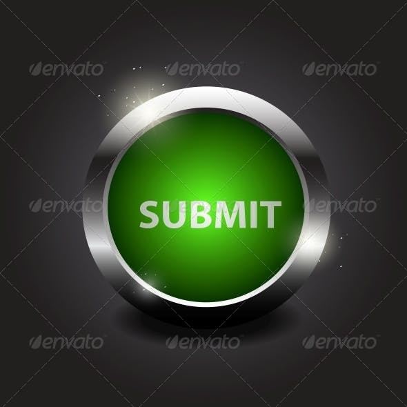 """Shiny Glossy Button """"Submit"""" on Metal Frame"""