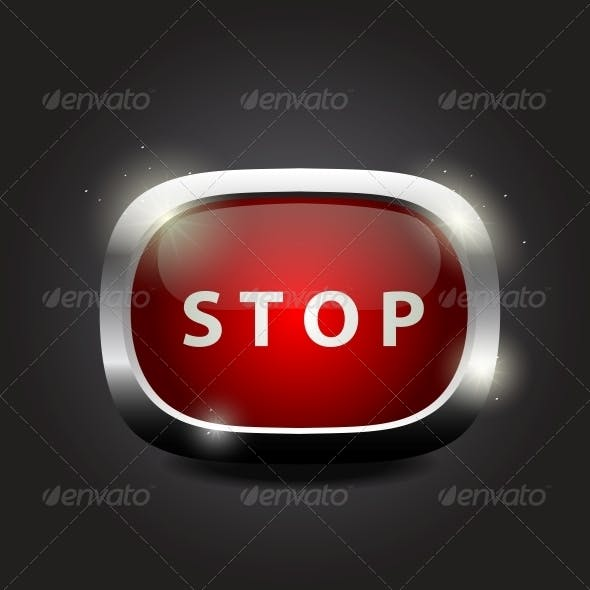 """Shiny Glass Button """"Stop"""" on Metal Frame"""