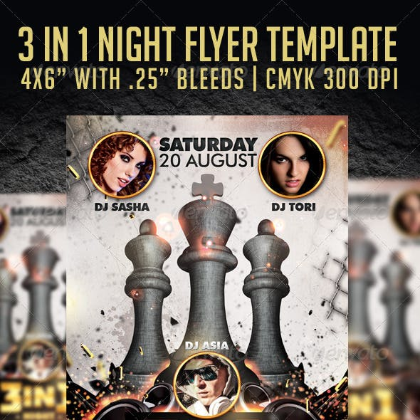 3 in 1 Night Flyer Template
