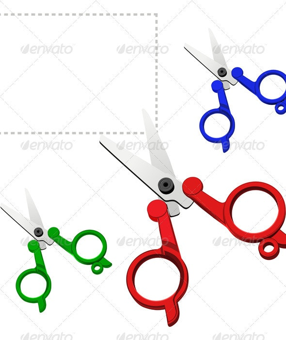 Vector colorful scissors on a white background - Man-made Objects Objects