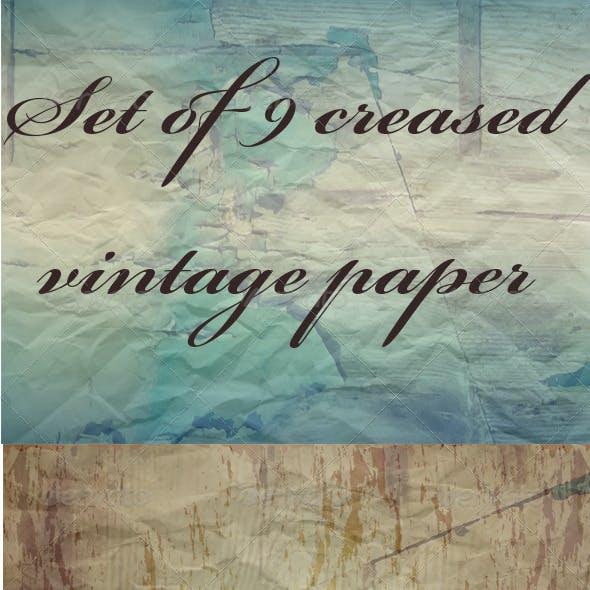 Set of 9 Vintage Creased Papers