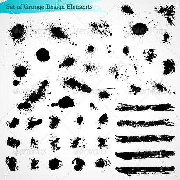 Vector Set of Grunge Design Elements - Decorative Symbols Decorative