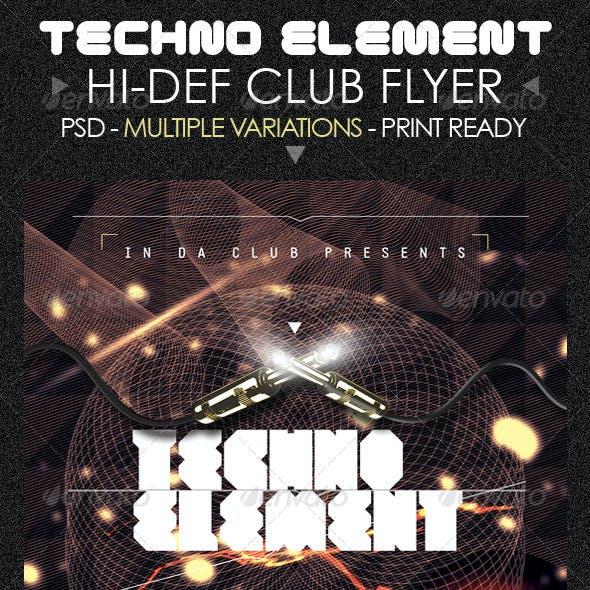 Techno Elements Party & Concert Flyer