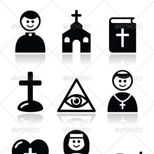 Religion Catholic Church Icon Set