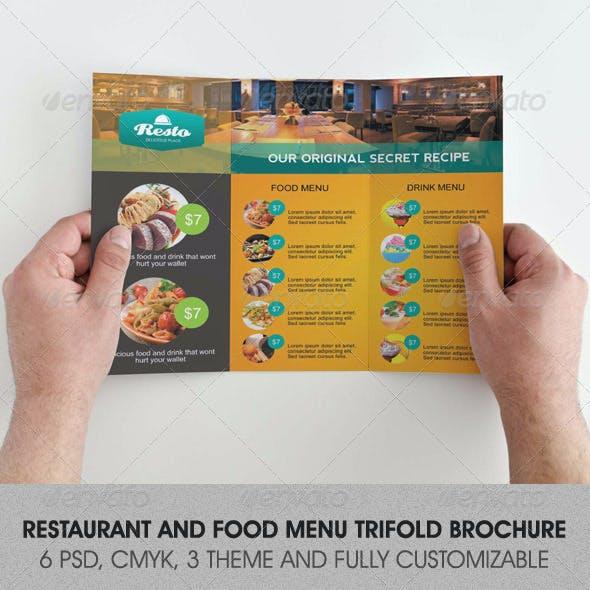 Restaurant and Food Menu Trifold Brochure
