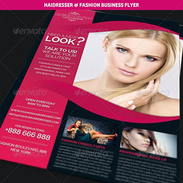 Hair Dresser Salon & Fashion Business Flyer