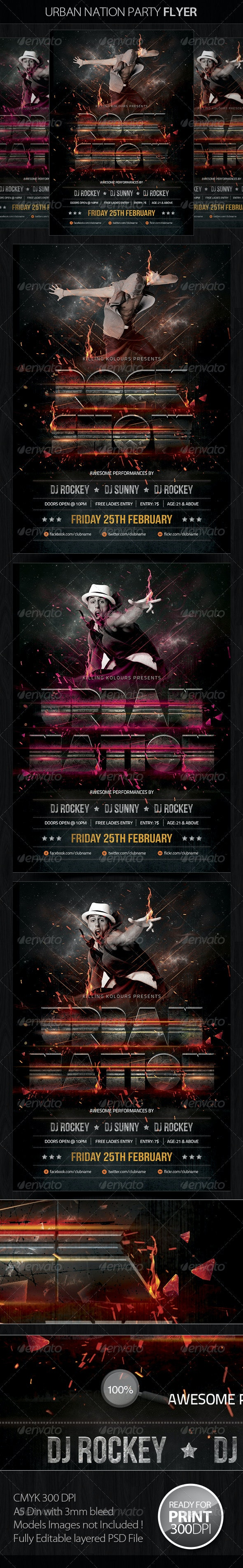 Urban Nation Party Flyer - Clubs & Parties Events