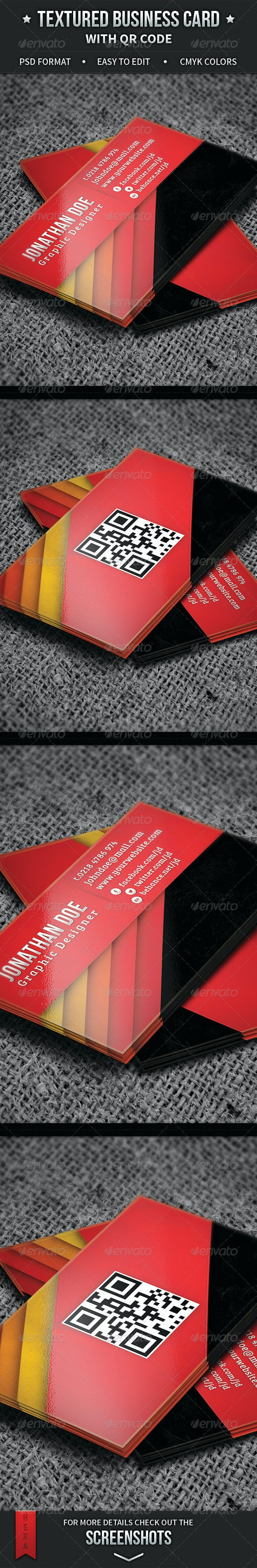 Textured Business Card with QR Code - Creative Business Cards