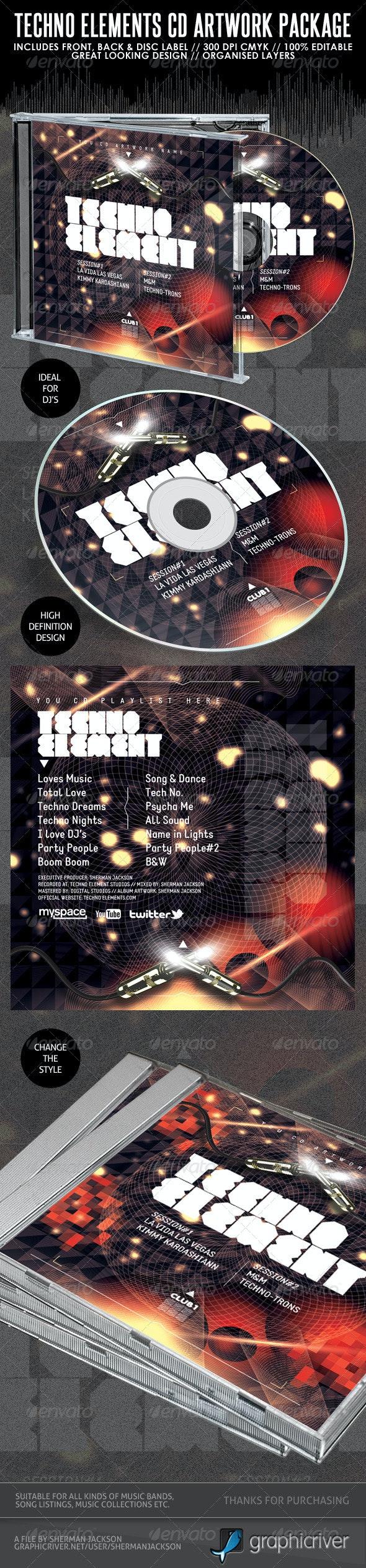 Techno Elements CD Artwork Package - CD & DVD Artwork Print Templates