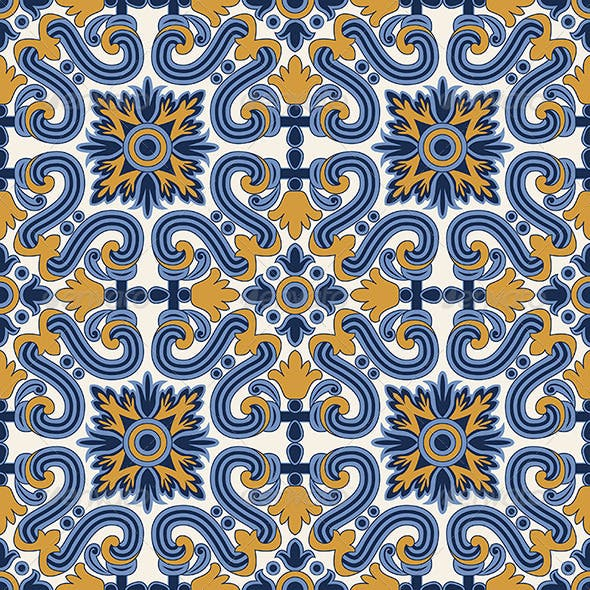 Classic Vintage Seamless Pattern in Blue and Yell