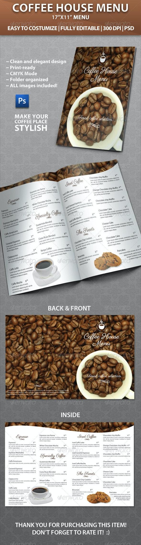 Elegant Coffee House Menu - Food Menus Print Templates