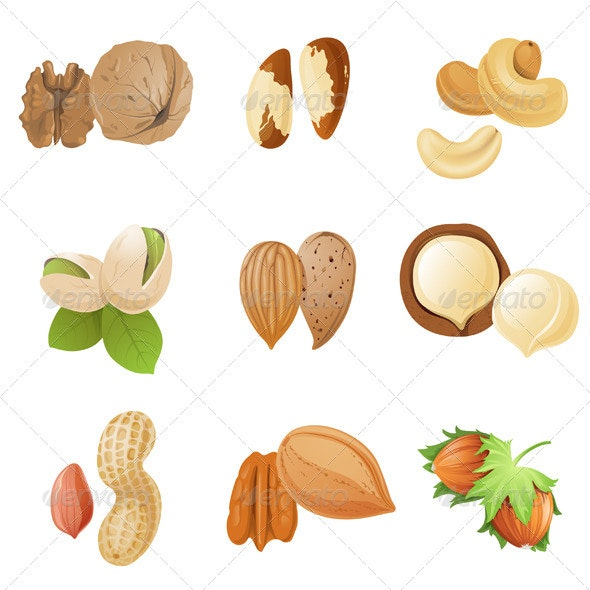 Nuts Icons - Food Objects