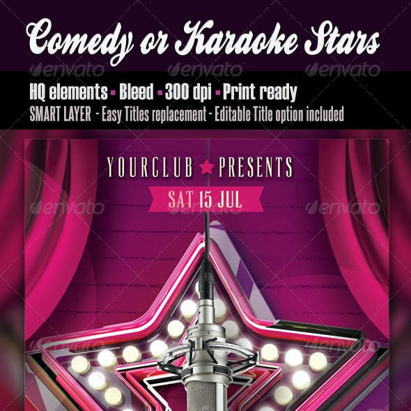 Comedy or Karaoke Stars Flyer