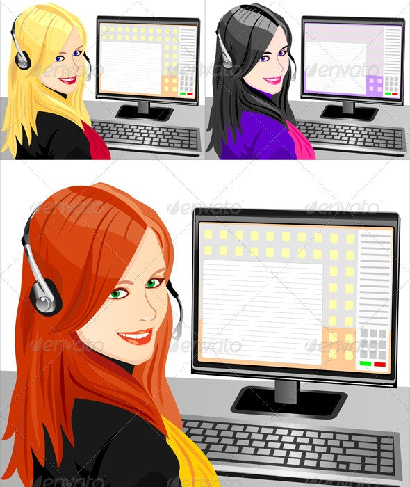Vector young beautiful red girl telephone operator - People Characters