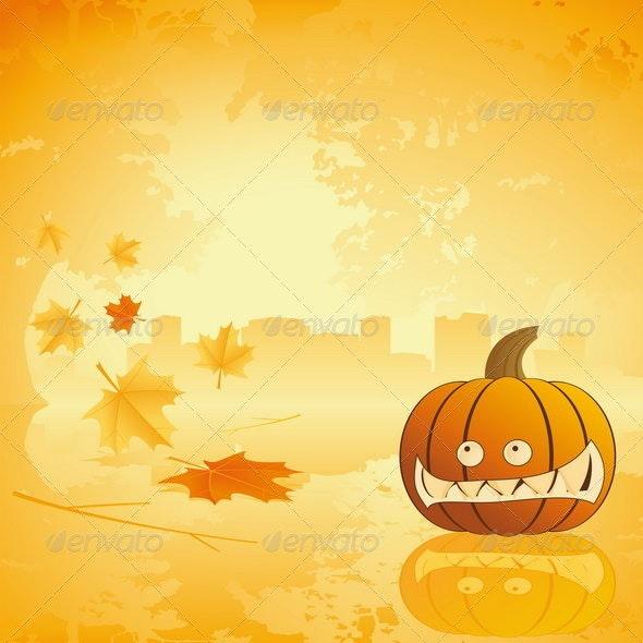 Halloween pumpkin with leafs and reflection - Halloween Seasons/Holidays