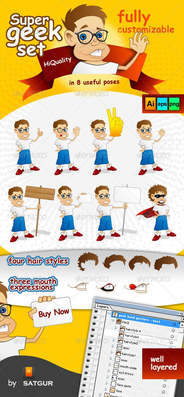 Super Geek Mascot - Characters Vectors