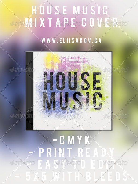 House Music - Mixtape Cover - CD & DVD Artwork Print Templates