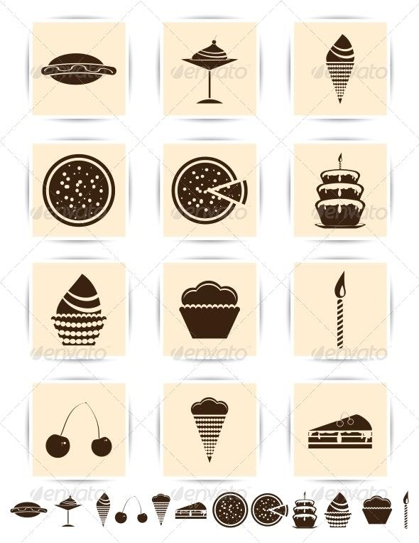 Cake/Pastries/Desert Icons - Web Elements Vectors