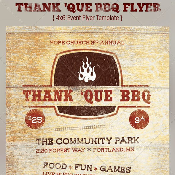 Western BBQ Charity Flyer Template
