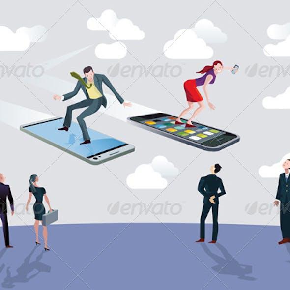 Businessman Businesswoman and Flying Smartphones