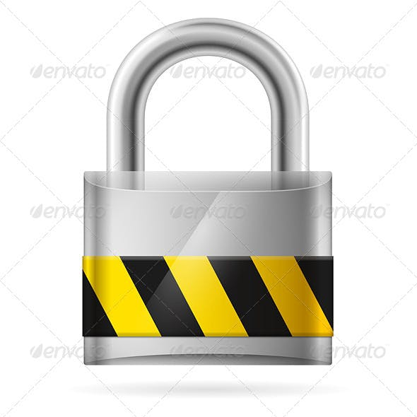 Security Concept with Locked Padlock