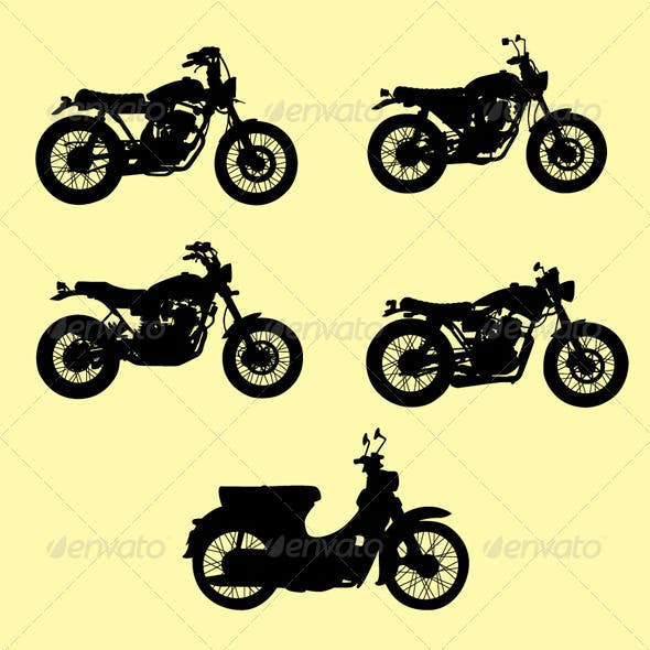 Motorcycle Silhouette Vector Set