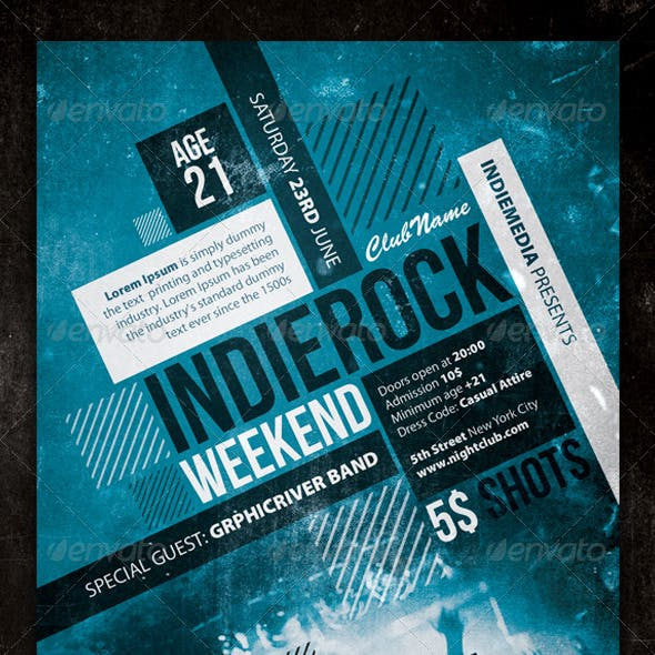 Indie Rock Vintage Concert / Party Flyer / Poster
