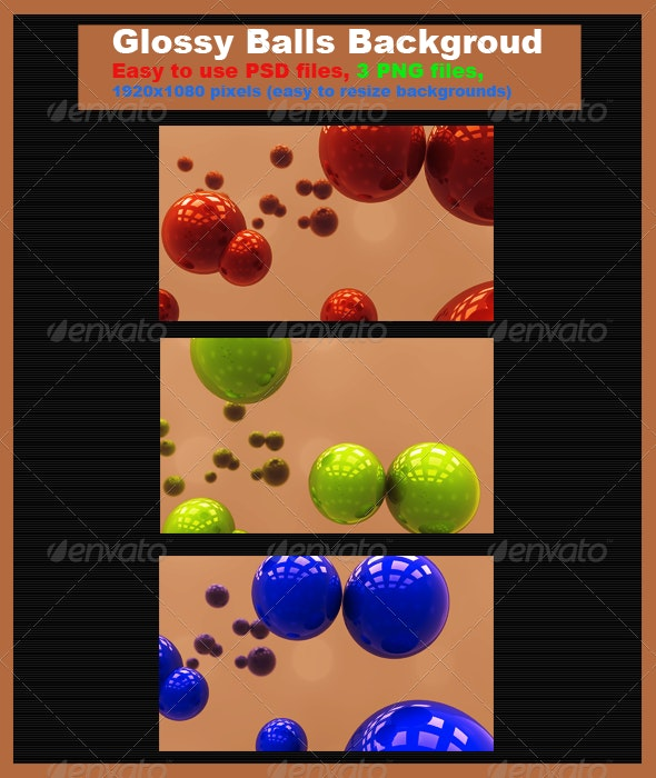3D Glossy Balls Background - Backgrounds Graphics