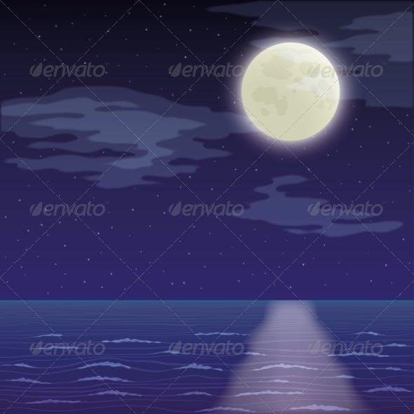 Landscape, Night Sea and Sky