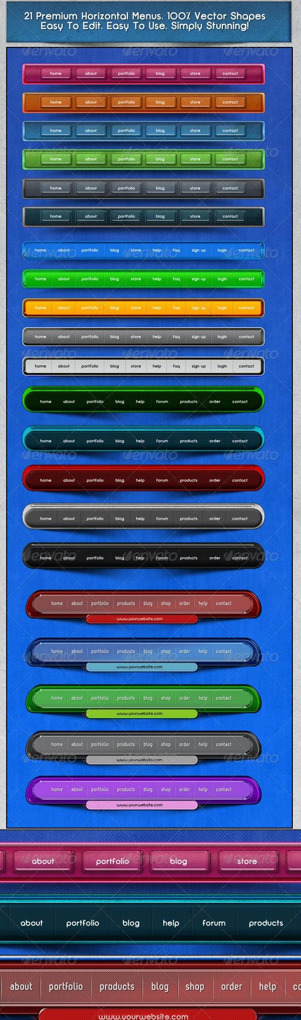 21 Professional Horizontal Web Menus - Navigation Bars Web Elements