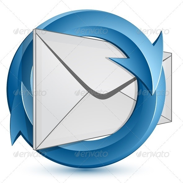 Mail Envelope and Blue Circular Arrows - Communications Technology