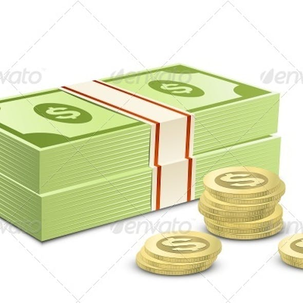 Pack of Dollars and Coins