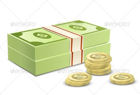 Pack of Dollars and Coins - Business Conceptual
