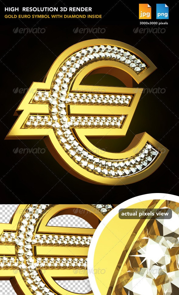 Gold Euro Sign - Objects 3D Renders