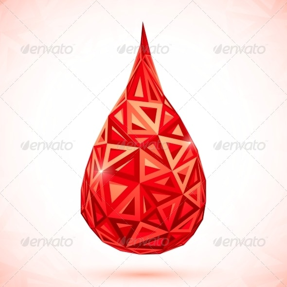 Abstract Triangles Vector Drop of Blood - Health/Medicine Conceptual