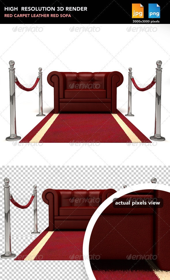 Red Sofa on Red Carpet - Objects 3D Renders
