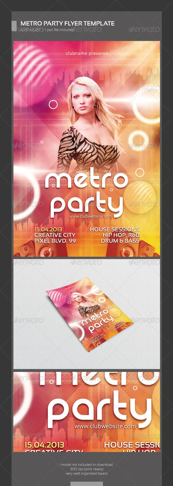 Metro Party Flyer Template - Clubs & Parties Events