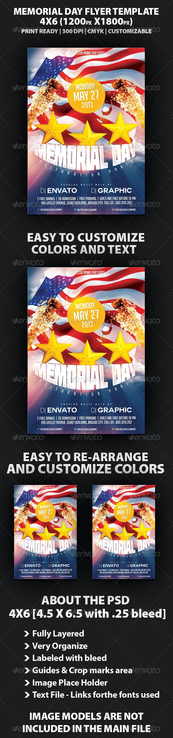 Memorial Day Party Flyer Template - Holidays Events