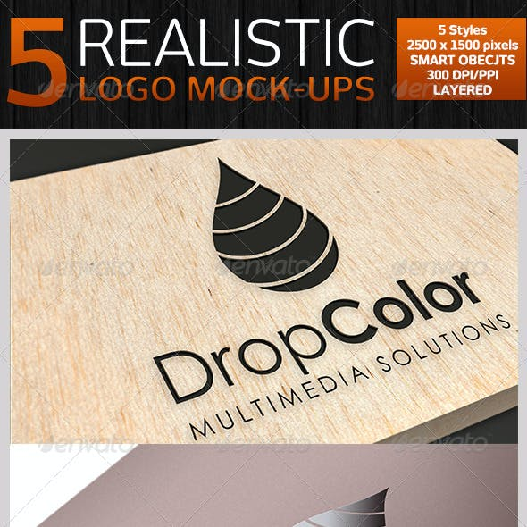 5 Realistic Logo Mock-ups - Set 1