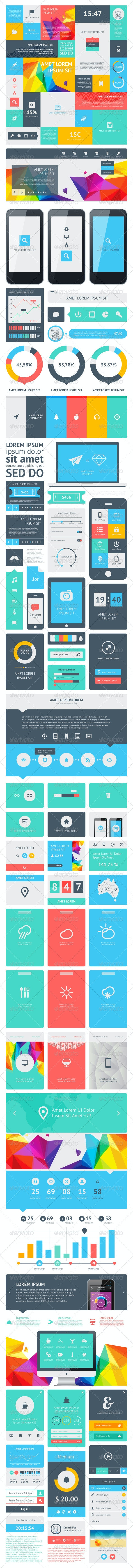 UI Set Components Featuring Flat Design - Web Elements Vectors