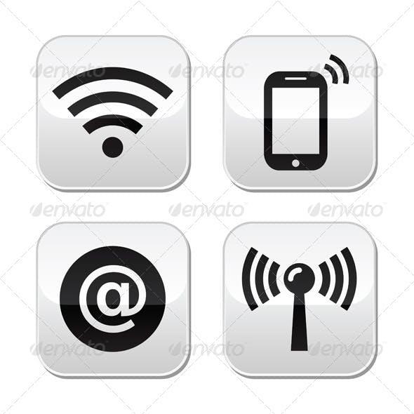 Wifi Network, Internet Zone Buttons Set