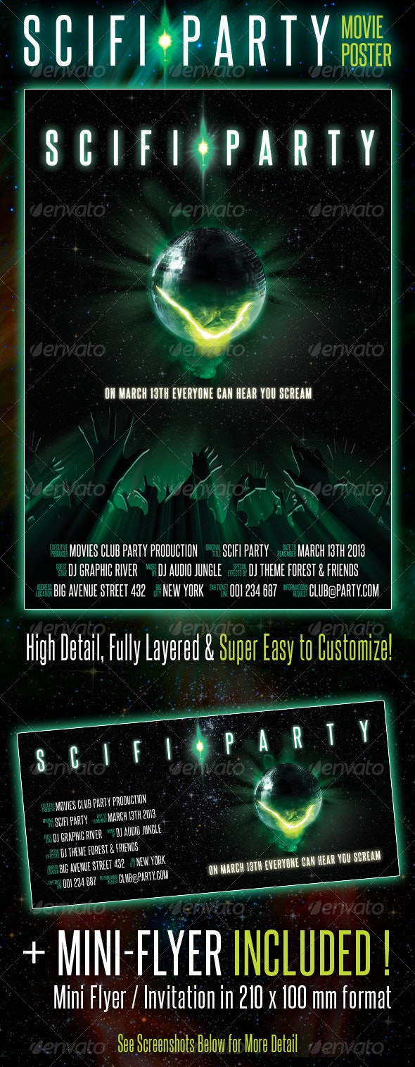 Scifi Party Movie Poster - Events Flyers