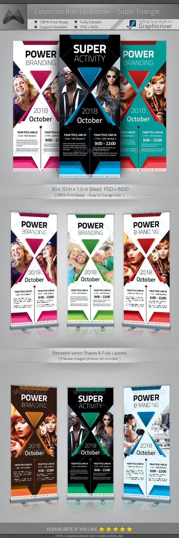 Corporate Roll-up Banner - Power Triangle - Signage Print Templates
