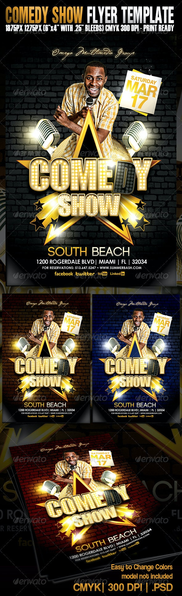 Comedy Show Flyer Template - Miscellaneous Events