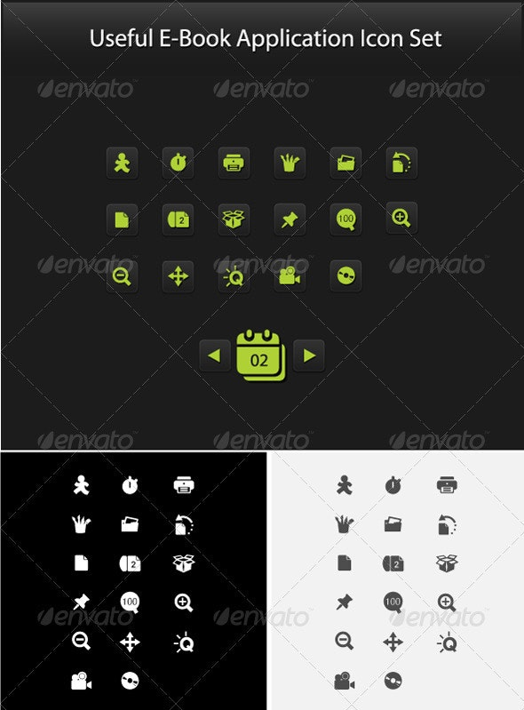 Useful E-Book Application Icon Set  - Technology Conceptual