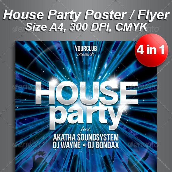 A4 House Party Club Flyer 4 in 1
