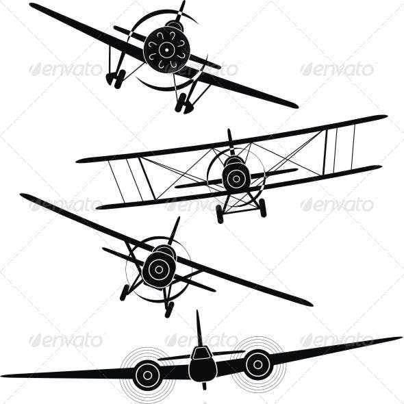 Set of silhouettes of aircrafts